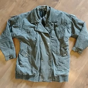 Vintage 80s 90s Black Acid Wash Denim Jean Jacket